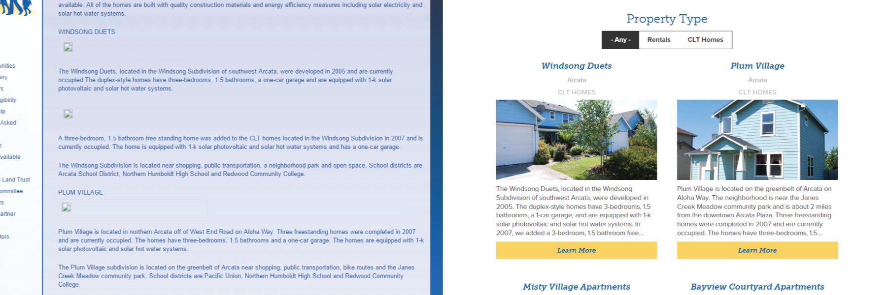 Picture demonstrating the difference between Housing Humboldt's old Property Profile Overview and their new one.