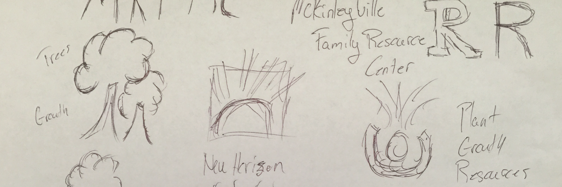 sketches for logo of McKinleyville Family Resource Center